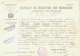 Suisse // Schweiz // Switzerland //  Extrait Du Registre Des Mariages (certificat De Mariage) - Documents Historiques