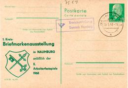 """DDR Amtl. Ganzsachen M. Priv. Zudruck """"Walter Ulbricht, 10Pf. Grün"""" P75/ C9, M. Anlaßbez. TSt. 25.5.68 NAUMBURG - [6] República Democrática"""