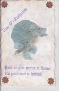 Carte Brodée / Collage - Sainte Catherine - Sainte-Catherine