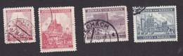 Bohemia And Moravia, Scott #30, 32, 35-36, Used, Cathedral, Zlin, Iron Works, Issued 1939