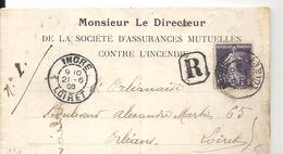 N°142 Seul Sur Lettre Recommandée D'INGRES Du 21/6/08 - Marcophilie (Lettres)