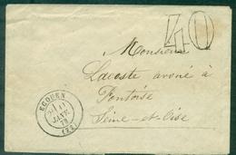 TAXE 40 Double Trait S/env Cachet ECOUEN (72) 11 Janvier 1873 - 1849-1876: Periodo Classico