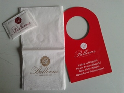 Zuc032 Zucchero Sucre Sugar Tovagliolo Napkin Bellevue Park Hotel Riga Lettonia Cartello Porta Do Not Disturb Sign - Hotel Labels
