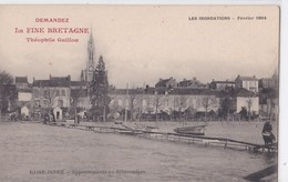 """Carte 1904 BASSE INDRE / INONDATIONS APPONTEMENTS AU DEBARCADERE (publicité Théophile Guillon """"la Fine Bretagne"""") - Basse-Indre"""