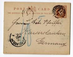 GB Liverpool 14-03-1895 Taxierte Ganzsache Half Penny Nach Kaiserslautern D - 1840-1901 (Victoria)