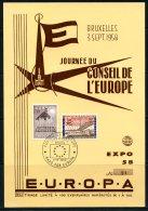 BE  --  EXPO 58  - Journées Du Conseil De L'Europe / Raad Van Europa  --  Feuillet Souvenir Tirage Limité - Ex. 91