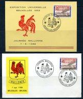 BE  Marcophilie  --  Obl. Mécanique / Machine   --  EXPO 58  --  Journée Wallonne  --  Carte + Pli