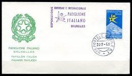 BE  Marcophilie  --  Obl. Mécanique / Machine   --  EXPO 58  --  Italie  --  Bureau Mobile + Griffe  --  1 Pli