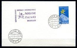 BE  Marcophilie  --  Obl. Mécanique / Machine   --  EXPO 58  --  Italie  --  Bureau Mobile + Griffe  --  1 Carte