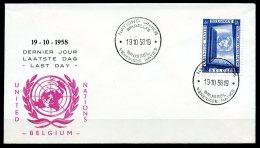BE  Marcophilie  --  Obl. Mécanique / Machine   --  EXPO 58   --  Nations-Unies --  ONU --  Sujet Rare  --  1 Plis
