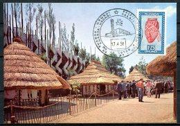 BE  Marcophilie  --   EXPO 58  --  Carte Maximum / CM  ---  Palais Du Congo :  Village Congolais Dans Les Jardins