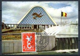 BE  Marcophilie  --   EXPO 58  --  Carte Maximum / CM  ---  Façade Des Grands Palais  --  Colombe De La Paix
