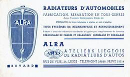 "BUVARD Publicitaire ATELIERS LIEGEOIS DE RADIATEURS D'AUTOS ""ALRA""-Fabrication Radiateurs Autos, Tracteurs, Compresseurs"