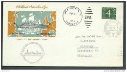 Nederland Envelop Tgv 350 Jaar Verbinding Holland-Amerika 1959 Via Paquebot. In 1609 Met Halve Maen - Poststempel