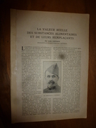 1917 LSELV :Valeur Réelle Des Aliments Et Succédanés (Louis Lapicque Pro D'hist Naturelle); NICKEL (par Charles Lordier) - Minerali