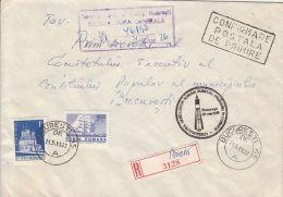 60395- DUMITRU PRUNARIU, FIRST ROMANIAN IN SPACE, COSMOS, POSTMARK ON REG COVER, MONASTERY, SHIP STAMPS, 1981, ROMANIA
