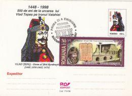 60460- VLAD THE IMPALER, DRACULA, CASTLE, LEGENDS, POSTCARD STATIONERY, OBLIT FDC, 2007, ROMANIA