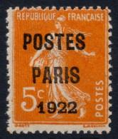France Préoblitérés N°30, POSTES PARIS 1922, Neuf ** Sans Charnière COTE 350 €