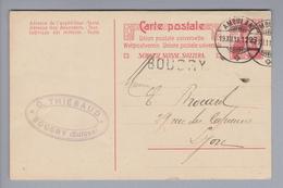 Heimat CH NE Boudry 1911-12-19 (Ambulant) Bahnwagenvermerk Ganzsache Nach Lyon - Suisse