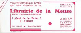 BUVARD Publicitaire LIBRAIRIE DE LA MEUSE à LIEGE - Papeterie