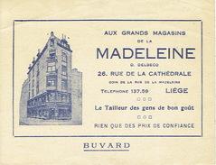BUVARD Publicitaire Grands Magasins De La MADELEINE à LIEGE - Tailleur Des Gens De Bon Goût - Textile & Vestimentaire