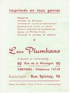 BUVARD Publicitaire Léon PLUMHANS à VERVIERS - Imprimerie & Papeterie - Autres