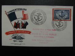 1951 - YT N° 889 TROUPES COLONIALES Sur ENVELOPPE ILLUSTRÉE PREMIER JOUR FDC Cachet Special CINQUANTENAIRE PARIS - ....-1949