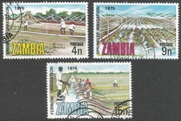 Zambia. 1975 Silver Jubilee Of International Commission On Irrigation And Drainage. Used Complete Set. SG 244-246 - Zambia (1965-...)