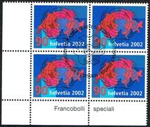 BLOC DE 4 TIMBRES OBLITERES 1er/J Le 10.9.2002 C/DES TIMBRES SUISSES Nr:1059. Y&TELLIER Nr:1740. MICHEL Nr:1801.
