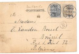 CPA DE LUBECK..ALLEMAGNE  POUR BRUSSELS... CACHET DE FACTEUR 241..TIMBRES  N° 51/52...  1901..VOIR SCAN. - Luebeck