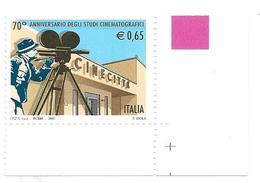 Italia, Italy 2007; CINECITTA' : Studi Cinematografici Di Roma; Francobollo D' Angolo. Nuovo. - Cinema