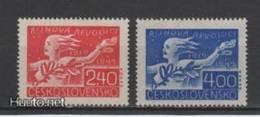 (S1702) CZECHOSLOVAKIA, 1947 (30th Anniversary Of Russian Revolution). Complete Set. Mi ## 527-528. MLH*