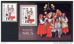 LATVIA  1995 Regional Costumes II Stamp + Block MNH / **.  Michel 407, Block 6 - Latvia