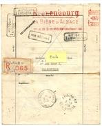 E.M.A. KRONENBOURG LA BIERE D'ALSACE - ABIDJAN 6 Mars 1958 Sur Lettre Recommandée Retournée à L'env  - CAD  TREICHVILLE - A.O.F. (1934-1959)