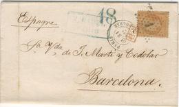40C NAPOLEON ETOILE PARIS 1 SUR LETTRE POUR BARCELONE 03/01/1867. TAMPON TAXE 18 VERT . GRIFFE ROUGE PD - Marcophilie (Lettres)