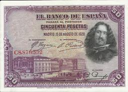 BILLETE 50 PESETAS, 15/8/1928   MUY BIEN CONSERVADO - [ 1] …-1931 : Primeros Billetes (Banco De España)