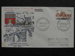 1955 - YT N° 1019 LIMOGES Sur ENVELOPPE ILLUSTRÉE PREMIER JOUR FDC Cachet Special LIMOGES - 1950-1959