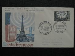 1955 - YT N° 1022 TELEVISION Sur ENVELOPPE ILLUSTRÉE PREMIER JOUR FDC Cachet Special PARIS - 1950-1959
