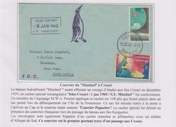 TAAF - Iles Australes - Crozet - Mischief - Paquebot - South Africa - Courrier Occasionnel - Terres Australes Et Antarctiques Françaises (TAAF)