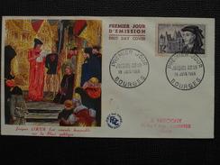 1955 - YT N° 1034 JACQUES COEUR Sur ENVELOPPE ILLUSTRÉE PREMIER JOUR FDC Cachet Special BOURGES - 1950-1959