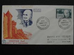 1956 - YT N° 1058 PAUL SABATIER Sur ENVELOPPE ILLUSTRÉE PREMIER JOUR FDC Cachet Special CARCASSONNE - 1950-1959