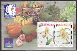 SINGAPORE 1995 Singapore 95 BF N° 35 Mi Bl. 33A  MNH**   ORCHIDS, FRUITS
