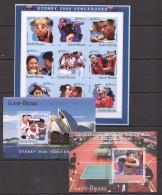 RR94 IMPERFORATE 2001 GUINE-BISSAU SPORT TABLE TENNIS SYDNEY 2000 VENCENDORES TENNIS 1KB+2BL MNH