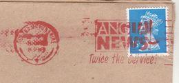 1990 GB Stamps COVER SLOGAN Pmk ANGLIA NEWS Twice The Service - 1952-.... (Elizabeth II)