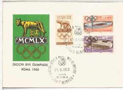 ITALIA ROMA FDC JUEGOS OLIMPICOS DE ROMA 1960 MAT STADIO OLIMPICO