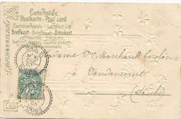 CARTE POSTALE 1903 AVEC  TIMBRE AU TYPE BLANC OBLITERE DU CACHET PERLE DE DASLE-DOUBS - Postmark Collection (Covers)