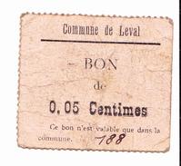 BON De 5c COMMUNE DE LEVAL 14-18 - Bons & Nécessité