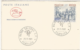ITALIA SALERNO FDC ESCULTURA BAJO RELIEVE NAVIDAD