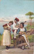 CARD AMORE COSTUMI TIPICI NAPOLETANI SERENATA CHITARRA MANDOLINO FIASCO DI VINO-FP-N-2-0882-27264 - Costumes