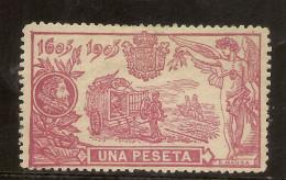 Edifil 264** Mnh LUJO  1 Peseta Carmín  Serie El Quijote  1905  NL723